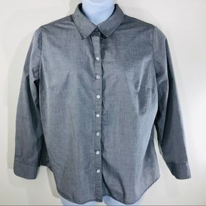George Gray Button Front Shirt Size 2X 18w- 20w